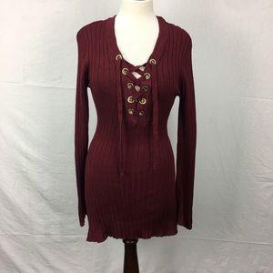 Ultra Flirt Burgundy Lace Up Tunic Sweater